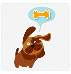 cute cartoon dog is thinking bone vector image