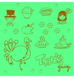 Doodle food thanksgiving party vector