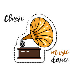 Fashion patch element gramophone vector