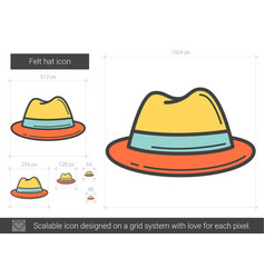 Felt hat line icon vector