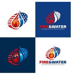 fire and water american restoration icon and logo vector image