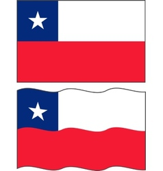 Flat and waving chilean flag vector