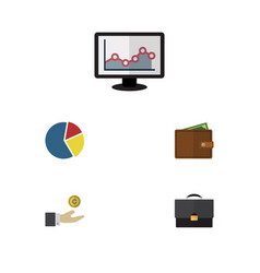 Flat icon incoming set of graph portfolio vector