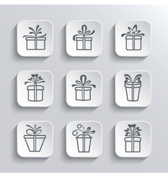 Gift Box Web Icons Set Holiday Presents vector image vector image