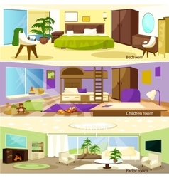 Horizontal cartoon living room interior banners vector