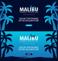 Malibu surfing graphic with palms surf club vector