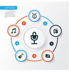 Multimedia icons set collection of instrument vector