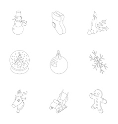 New year holiday icons set outline style vector