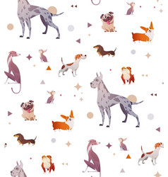 Pattern of a simple patten with dogs vector