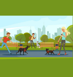 people walking with dogs in urban park vector image vector image