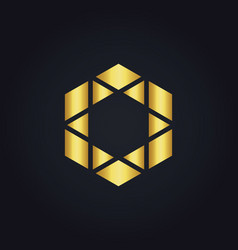 Polygon triangle gold logo vector
