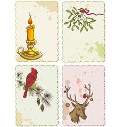retro christmas cards vector image vector image