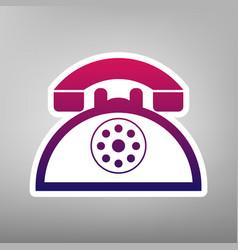 Retro telephone sign purple gradient icon vector