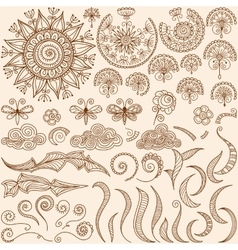 set Henna mehndi doodle design elements vector image