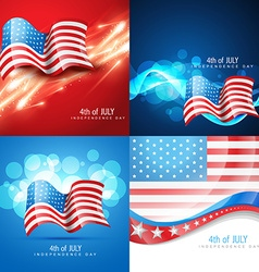 Set of american flag in different creative style vector