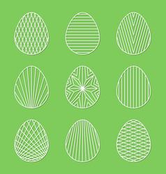 Set of linear minimal easter egg art on green vector