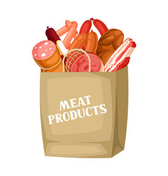 shopping bag with meat products of vector image