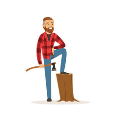 smiling lumberjack holding an axe colorful vector image