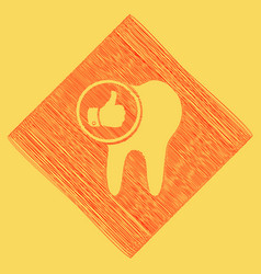 Tooth sign with thumbs up symbol red vector