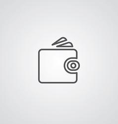 Wallet outline symbol dark on white background vector image