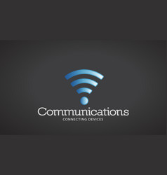 wifi communications logo vector image vector image