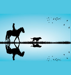 woman riding a horse and dog vector image