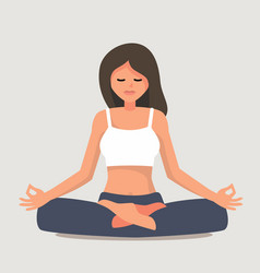 Young girl yoga posing vector