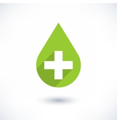 First aid drop green sign flat style vector
