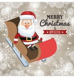 merry christmas card and happy new year santa vector image