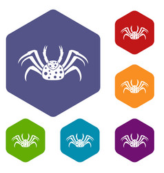 Live crab icons set hexagon vector