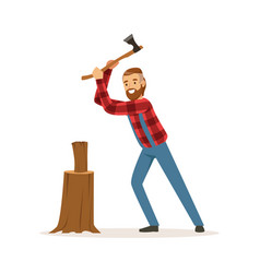 Lumberjack chopping wood with an axe colorful vector