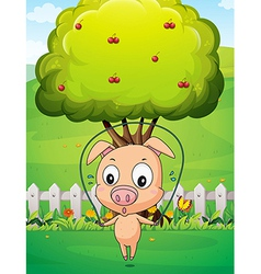 A pig playing skipping rope near the tree vector