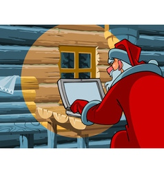 Santa claus typing a letter on the computer vector