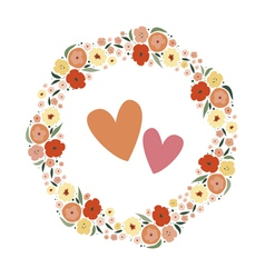 Romantic floral wreath vector