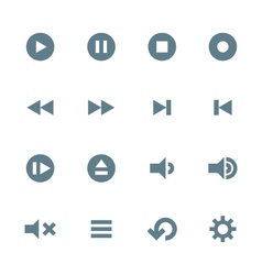 Solid grey various media player icons set vector