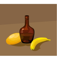 Still life with yellow melon bottle and banana vector