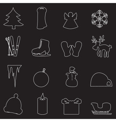 Simple white winter outline icons set eps10 vector