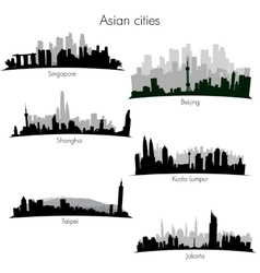 Asian cities skylines vector