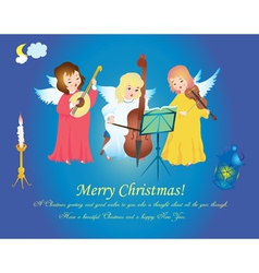 Christmas angels singing on heaven vector