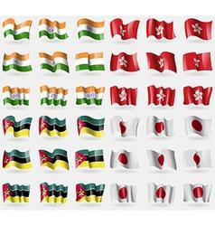 India hong kong mozambique japan set of 36 flags vector
