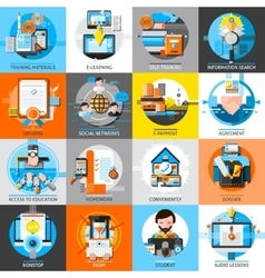 Online education flat color icons set vector