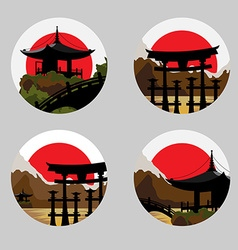 Icons with a japanese landscape vector
