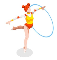 Gymnastics rhythmic hoop 2016 sports 3d vector