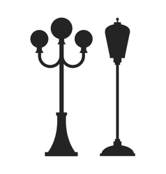 Street lamp black silhouette vector