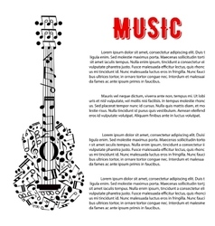 Musical concert poster design with guitar of notes vector
