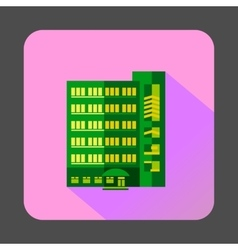 Green multistory building icon flat style vector