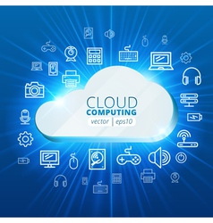 Abstract cloud and social media network icons vector