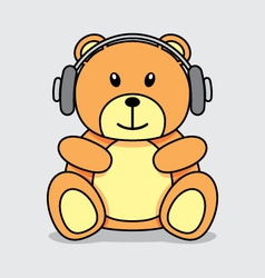 Bear listening music vector