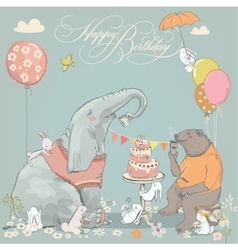 Birthday card with cute bear elefant and hares vector