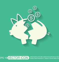 broken piggy Bank icon vector image vector image
